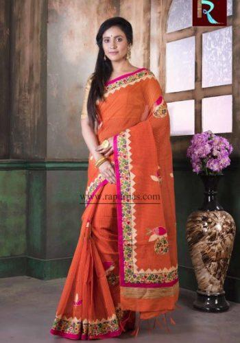Applique work on BD Cotton Saree of orange color