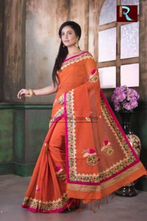 Applique work on BD Cotton Saree of orange color1