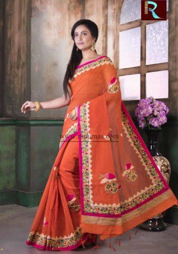 Applique work on BD Cotton Saree of orange color1