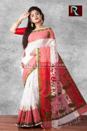 Applique work on pure Cotton Saree of multicolor