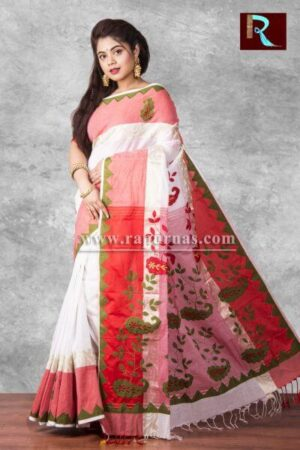 Applique work on pure Cotton Saree of multicolor1