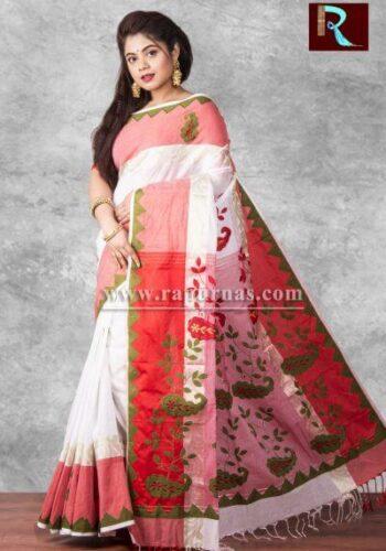 Applique work on pure Cotton Saree of multicolor1