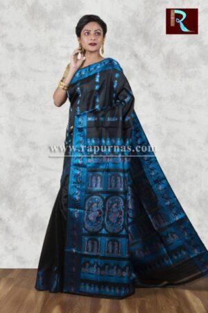 Baluchari Silk Saree of black and blue combo