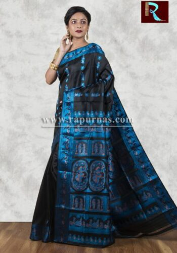 Baluchari Silk Saree of black and blue combo