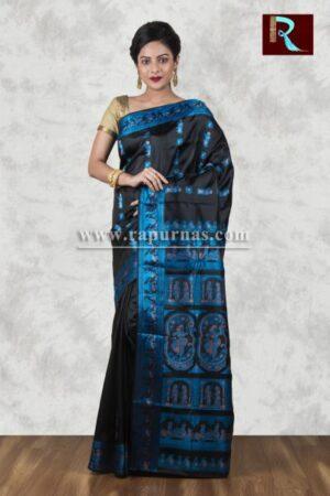 Baluchari Silk Saree of black and blue combo1