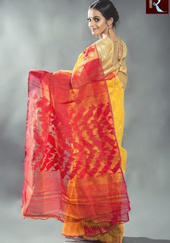 Bangladeshi Dhakai Jamdani Saree with Yellow body and Red Pallu