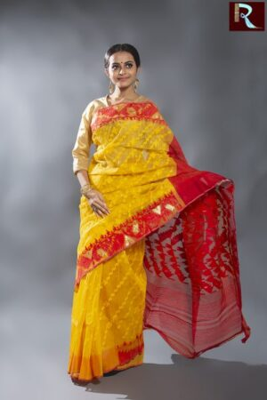 Bangladeshi Dhakai Jamdani Saree with Yellow body and Red Pallu1