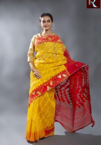 Bangladeshi Dhakai Jamdani Saree with Yellow body and Red Pallu1