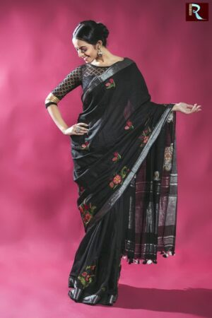 Black Blended Linen Saree with thread work