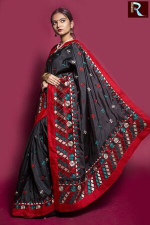Black Designer Saree with multicolor Pallu