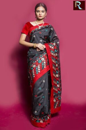Black Designer Saree with multicolor Pallu1