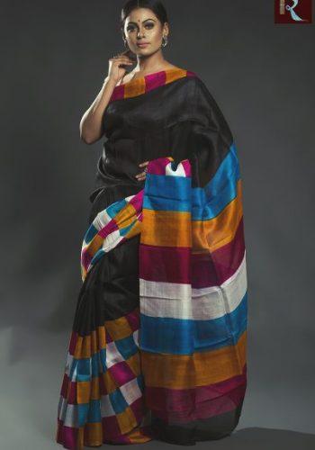 Black Hand Printed Pure Silk Saree with Multi Color Pallu