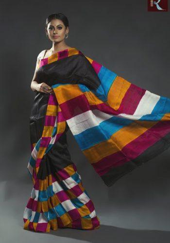 Black Hand Printed Pure Silk Saree with Multi Color Pallu2