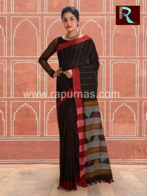 Black Pure Cotton Handloom Saree