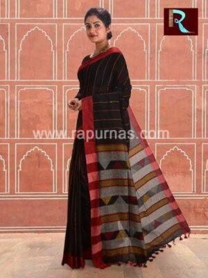 Black Pure Cotton Handloom Saree1