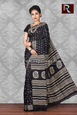 Black color printed Pure Silk Saree1