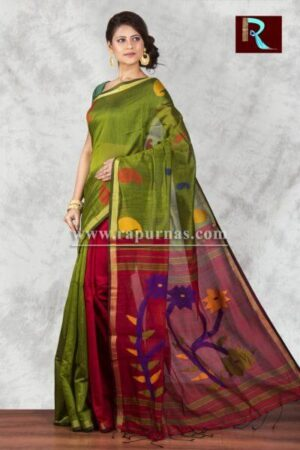 Blended Cotton Handloom Saree with bottle green body1