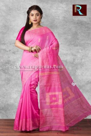 Blended Cotton Handloom Saree with box Pallu