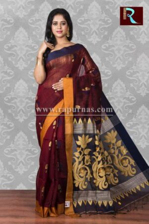 Blended Cotton Handloom Saree with floral Pallu