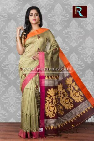 Blended Cotton Handloom Saree with floral Pallu1