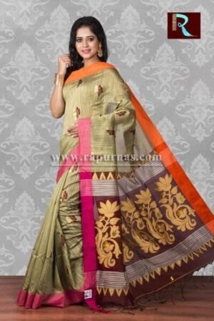 Blended Cotton Handloom Saree with floral Pallu2