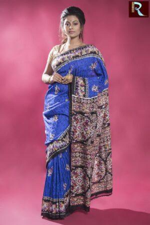 Blue Matka Silk Saree with Multicolor and Printed Pallu