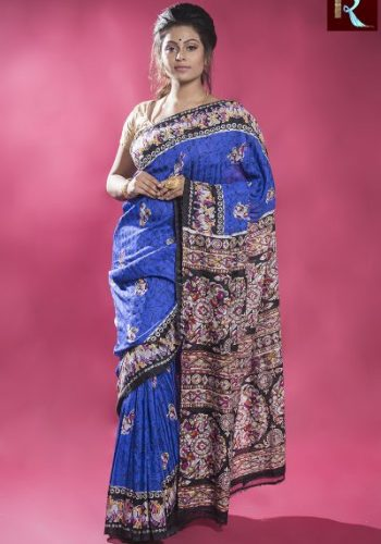 Blue Matka Silk Saree with Multicolor and Printed Pallu