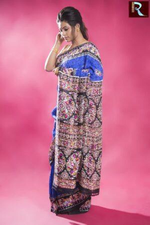 Blue Matka Silk Saree with Multicolor and Printed Pallu1
