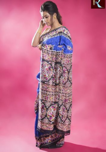 Blue Matka Silk Saree with Multicolor and Printed Pallu1