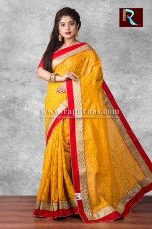 Brasso Designer Saree of apricot color