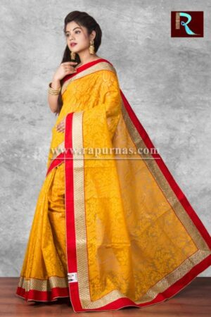 Brasso Designer Saree of apricot color1
