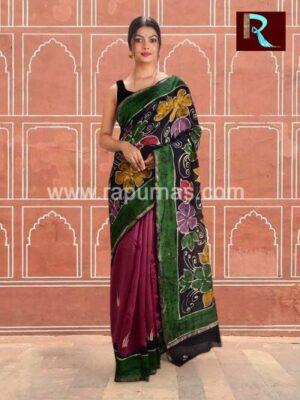 Chanderi Batik Saree with amazing print