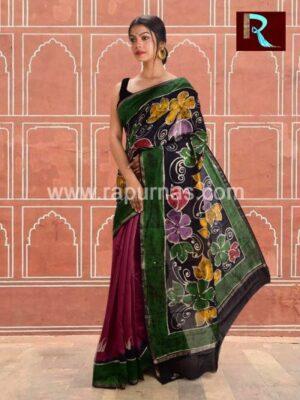 Chanderi Batik Saree with amazing print1