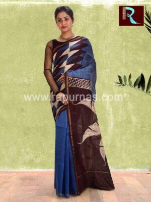 Chanderi Batik Saree with unique floral print