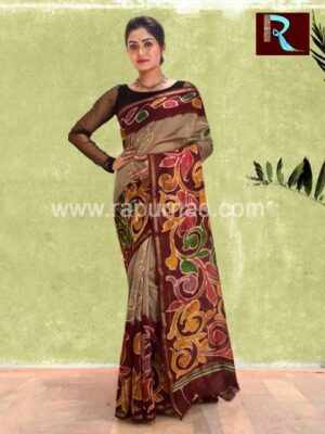 Chanderi Batik Saree with unique print