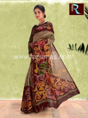 Chanderi Batik Saree with unique print1