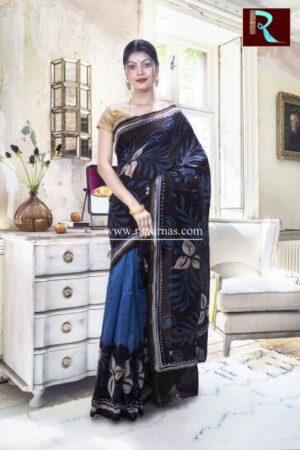 Chanderi Hand Batik Saree with multicolor combo