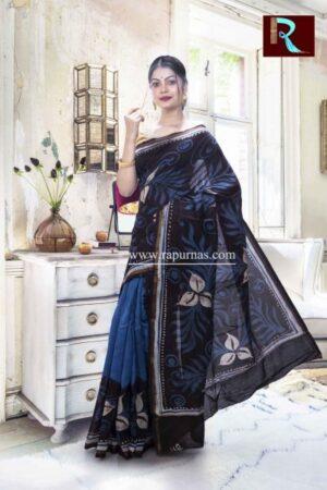 Chanderi Hand Batik Saree with multicolor combo1