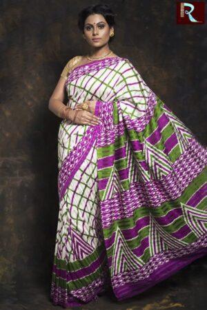 Checkered Matka Silk Saree