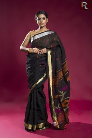Deep Black Linen Jamdani Saree
