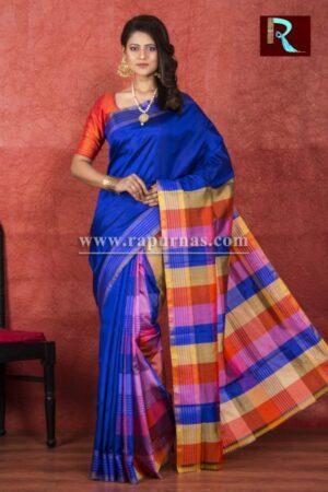 Deep Blue Bishnupuri 3D Katan Silk Saree