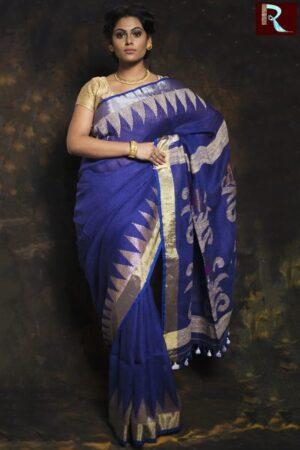 Deep Blue Linen Jamdani Saree with Temple Pallu1