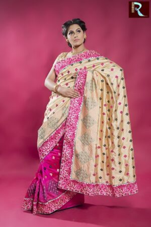 Designer Silk Saree with pink and off white combination