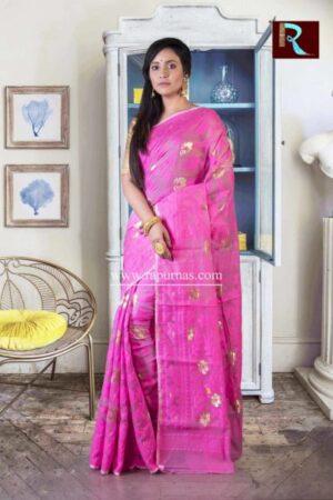Dhakai Jamdani Saree of pink and golden combo