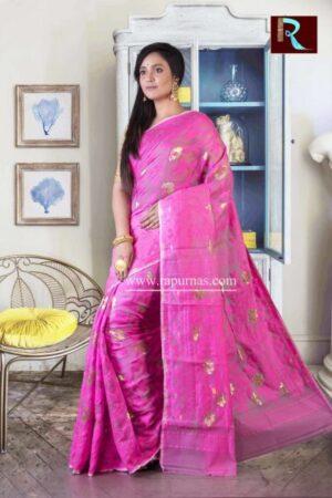 Dhakai Jamdani Saree of pink and golden combo1
