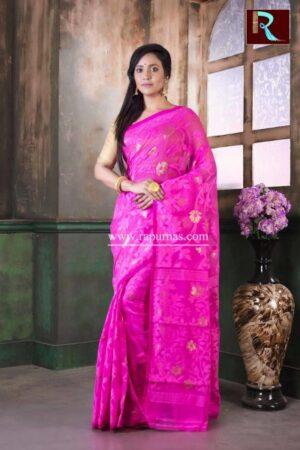 Dhakai Jamdani Saree of pink color