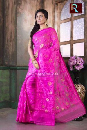 Dhakai Jamdani Saree of pink color1
