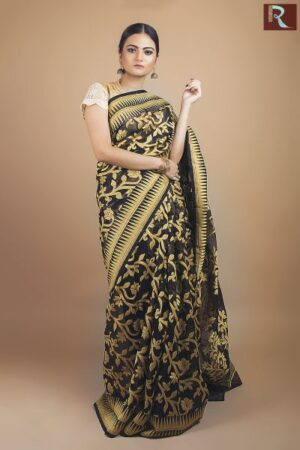 Dhakai Jamdani Saree with a regal glow