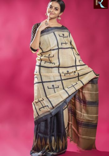 Ethnic Tussar Silk Saree with Swastik print all over