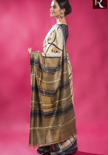 Ethnic Tussar Silk Saree with Swastik print all over1